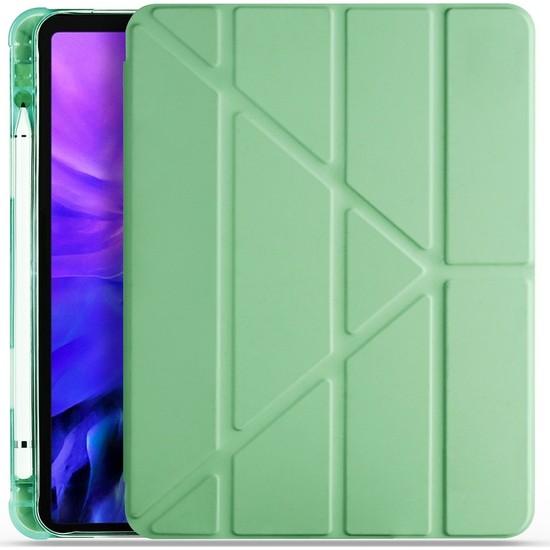 Ceplab Apple iPad 6. Nesil Kılıf 9.7 2017 Kalem Bölmeli Silikon Smart Cover+9h Nano Esnek Ekran Koruyucu Cam Açık Yeşil