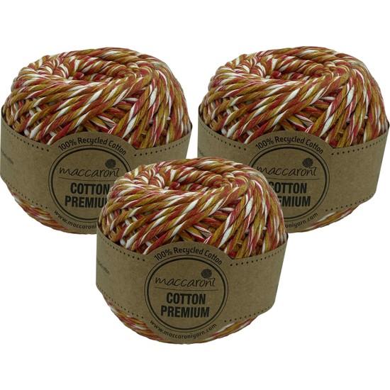 Maccaroni Cotton Premium Tek Büküm Tarama Makrome Hobi İpi 100 gr 85 M 2 mm 3'lü