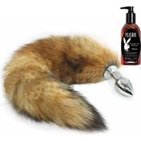 Cnc Tilki Kuyruklu Tüylü Paslanmaz Çelik Anal Tıkaç (Plug) ve Playboy Masaj Yağı