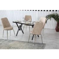 Dzdizayn Umay Beyaz Mermer Desen Masa & Krem Sandalyeli Set 80*120
