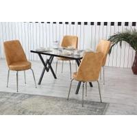 Dzdizayn Umay Beyaz Mermer Desen Masa & Turuncu Kumaş Sandalyeli Set 80*120