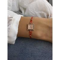Serpil Jewellery Rose Renk Zirkon Taşlı Kare Nazarlı Kırmızı İpli Bileklik