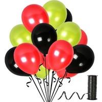 Kullanatparty Rafya 100 Adet Metalik Parti Balonu Siyah - Kırmızı - Fıstık Yeşili