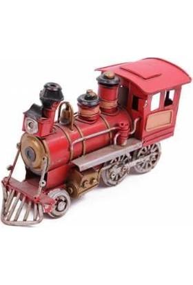 Mnk Home El Yapımı Boyalı Nostalji Görünümlü Dekoratif Metal Lokomotif Tren