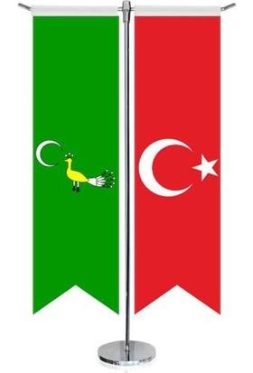 Asilmeydan Gazne Devleti Bayrağı 17 Eski Türk Devletleri ve Türkiye Kırlangıç Saten T Direk Masa Bayrağı 2'li