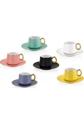 Taç Tulip Kahve Fincan Seti Renkli