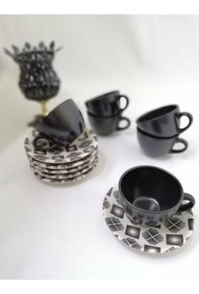 Keramika Dijital Dekorlu 6'lı Çay Seti