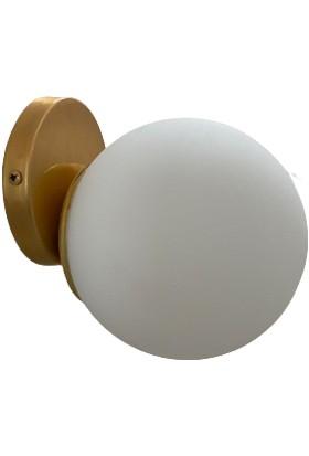 Eymen Abajur Avize Gold Modern Beyaz Camlı Aplik Aydınlatma