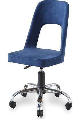 Sandino Hilal - Lacivert, Kumaş, Metal Ayaklı Ofis Çalışma Sandalyesi