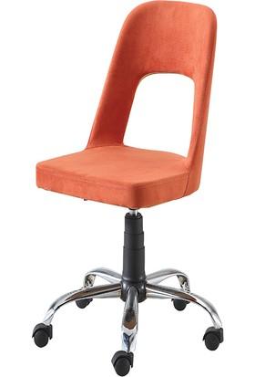 Sandino Hilal - Turuncu, Kumaş, Metal Ayaklı Ofis Çalışma Sandalyesi