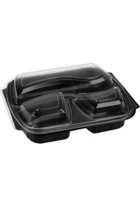 Folyo Term Üç Bölmeli Plastik Gıda Kabı+Kapak 50'li x 6 Paket (1 Koli)