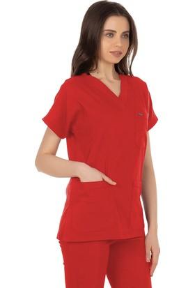 TıpMod Yarasa Kol Likralı Kırmız Doktor / Hemşire Forması