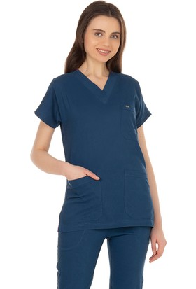 TıpMod Yarasa Kol Likralı Indigo Doktor / Hemşire Forması