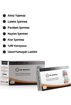 Md Medikal 3 Katlı Meltblown Filtreli TIP2R Full Ultrasonik Siyah Kare Desenli Burun Telli Sertifikalı Cerrahi Maske 50'li x 10 Adet