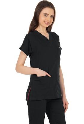 TıpMod Yarasa Kol Likralı Siyah Doktor / Hemşire Forması