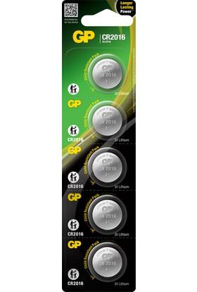 Gp CR2016 3V Düğme Pil Lıtyum 5'li Blister 20 Kart 100 Adet