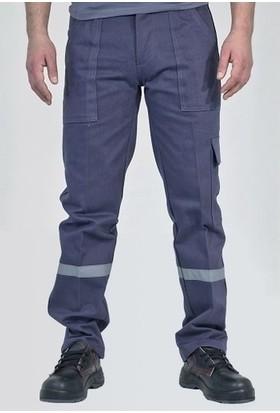 Ery Gabardin Kışlık Gri İşçi Pantolonu Kalın Reflektörlü S Beden
