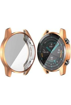 Yakuppolt Huawei Watch Gt 2 46MM 360 Koruma Ultra Ince Silikon Kılıf Ekran Koruyucu