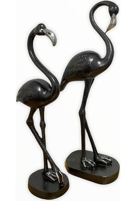 Arem Dekor Aksesuar 2'li Siyah Gümüş Flamingo Biblo