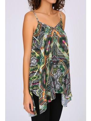 Select Moda Kadın Renkli Askılı Asimetrik Kesim Bluz S0390104061