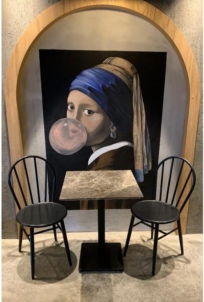 Voodo Concept Dark Emperador Mermer Kafe Bahçe Masası
