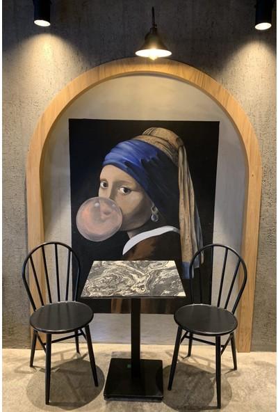 Voodo Concept Nero Picasso Silver Mermer Kafe Bahçe Masası