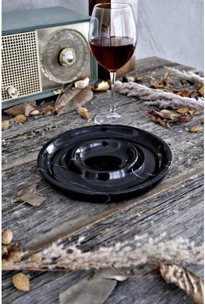 Voodo Concept Alexander Black Mermer Şaraplık + Çerezlik 2'li Set