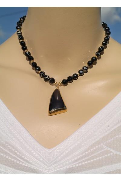 Dizayn Cam Siyah Obsidyen Doğaltaş Uçlu Siyah Akik Doğaltaş Kolye