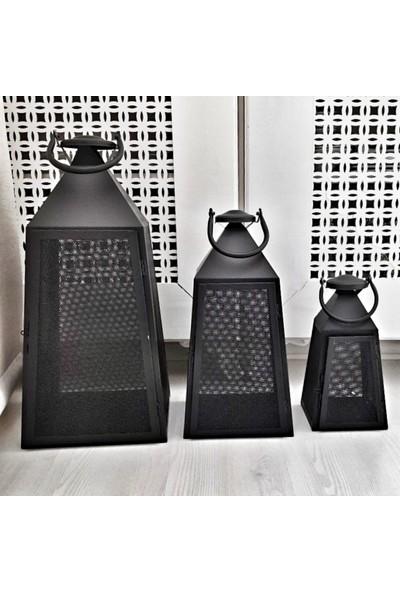 Mien 3'lü Dekoratif Siyah Ferforje Prizma Fener
