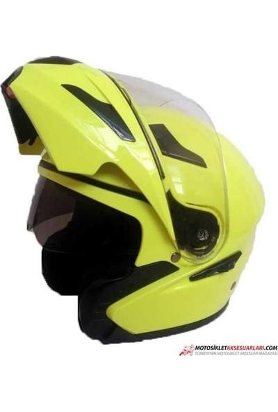 Vexo Fs 901 Neon Sarı Çeneden Açılır Kask