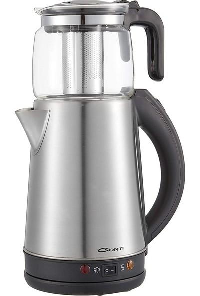 Conti Cam Demlikli Çay Makinesi - Inox