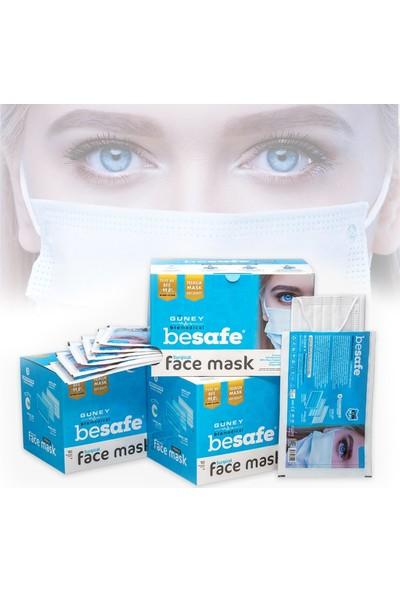 BeSafe Tekli Ambalaj Premium Kutu Cerrahi Maske 3 Katlı MB - 150 Adet