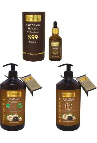 Naturix %99 Natural Saç Dökülme Önleyici ve Saç Çıkarıcı 3'lü Set Serum + Şampuan + Saç Kremi