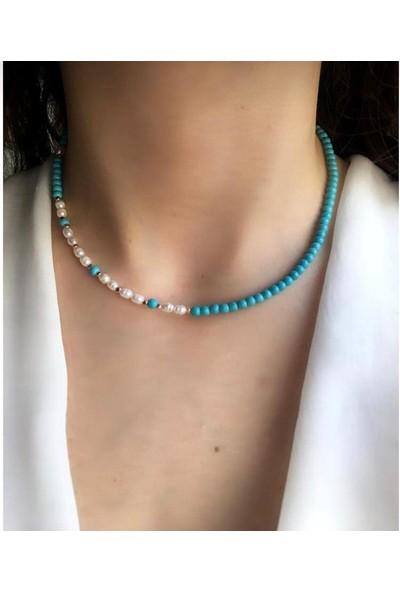 Serpil Jewellery Mavi Firuze ve İncili Tasarım Kolye