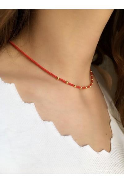 Serpil Jewellery Kadın Kırmızı Afgan Boncuklu Kolye