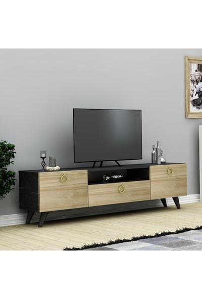 Nur Tv Ünitesi Siyah Mermer\SafirMeşe