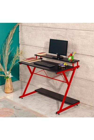 Akışık Modern Çalışma Masa Kırmızı Siyah