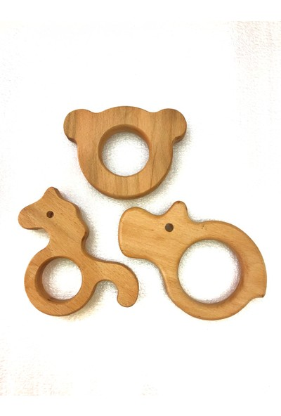 Işık Ahşap Ahşap Bebek Diş Kaşıma Oyuncağı 3lü Set Model 1 Hipopotam At Ayıcık