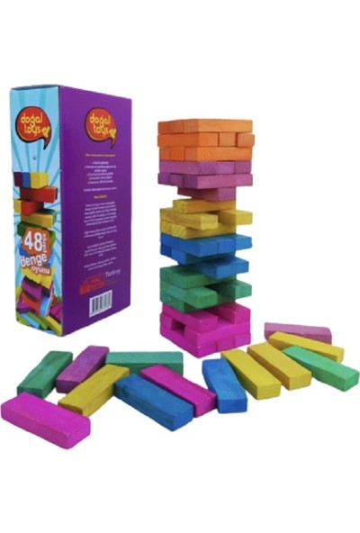 Doğal Toys Renkli Büyük Boy Ahşap Denge Oyunu Kule Oyunu 48 Parça