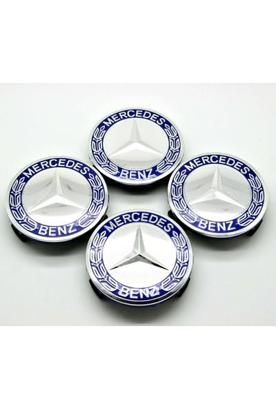 Blue Mercedes Mavi Jant Göbeği Dış Çapı 75 mm (4'lü Set) Kabartmalı Göbek Blueoto