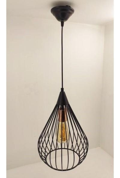 365gunserisonu Bakır Rozanslı Siyah Modern Retro Metal Kafes Piramit Elmas Sarkıt Avize Model-2
