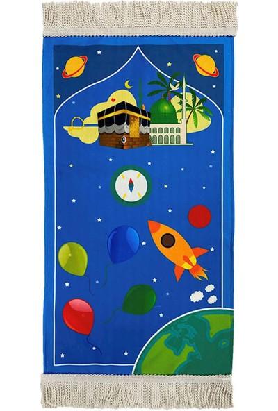 Icma Uzay Yolu Astarlı Mavi Çocuk Seccadesi
