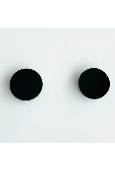 Takıştır Siyah Yuvarlak Figürlü Büyük Boy Mıknatıslı Küpe