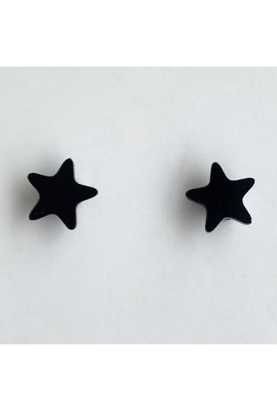 Takıştır Siyah Yıldız Figürlü Mıknatıslı Küpe