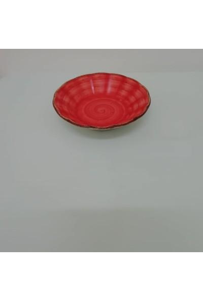 Güral Porselen 10 cm Çay Tabağı Kırmızı
