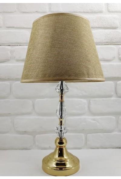 365gunserisonu Elmas Model Taşlı Gold Altın Renk Metal Ayaklı Kahverengi Kumaş Şapkalı Abajur Masa Lambası