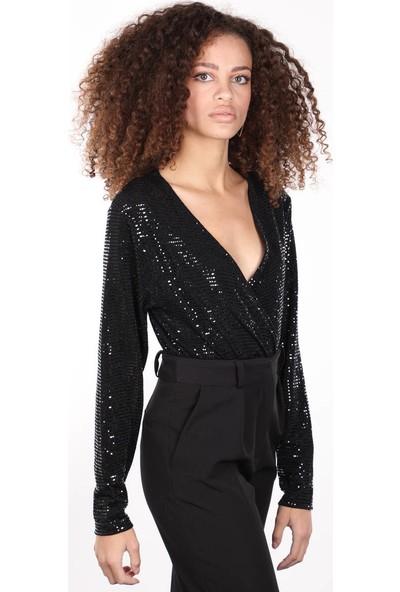 Markapia Woman Siyah Payetli Kruvaze Yaka Body Kadın Bluz