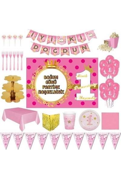 Parti Furyası 1 Yaş Kız Afişli Lüks Doğum Günü Parti Süsleri 8 Kişilik