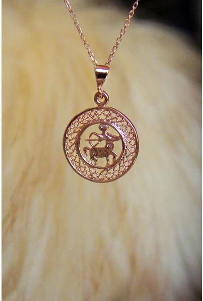 Argentum Concept Yay Burcu Gümüş Madalyon Kolye