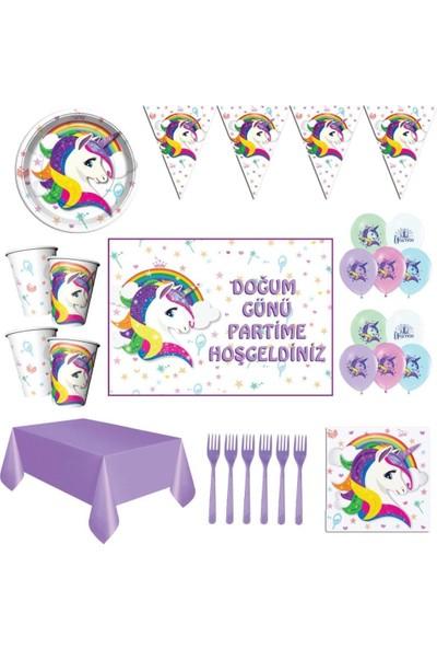 Parti Furyası Unicorn Beyaz Doğum Günü Parti Malzemeleri Afişli Set 24 Kişilik